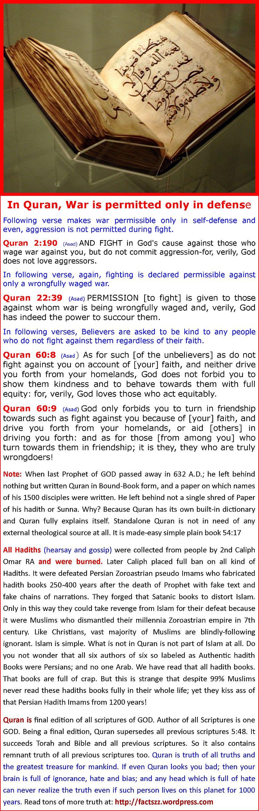 QuranPermitsWarinDefenseOnly